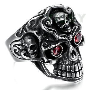 Men's Casting Stainelss Steel Ring Skull Ruby Red Garnet CZ Stone eyes Punk Rock