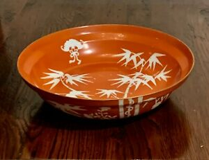 ANTIQUE CHINESE PORCELAIN BOWL CORAL GROUND BATS BAMBOO 19TH C MARKED 10""
