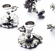 10 Silver Plated Teacup Saucer & Spoon Charms Pendant, Antique Tea Cup Tea Party