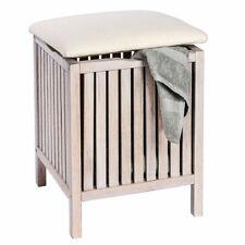 WENKO Badhocker Norway Weiß mit Wäschesammler Wohnhocker unbenutzte B-Ware