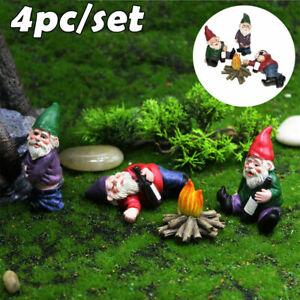 4X Fairy Garden Gnomes Accessories My Little Friend Drunk Gnome Dwarfs Statu