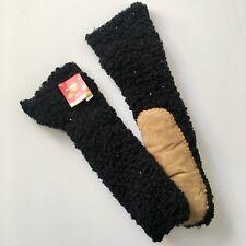 Joe Boxer Women's Slipper Socks Sz 4-10 Fuzzy Faux Sherpa Suede Black Gift NWT