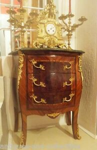 ANTIQUE 19th C wooden commode ROCOCO style LOUIS XV furniture bronze marble