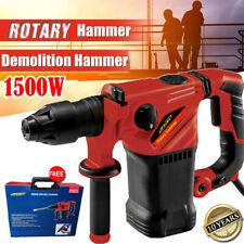 1500W Electric Hammer Drill Demolition Rotary Chuck SDS Plus Bit Set 3 Chisels