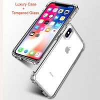 Luxury Shockproof Bumper Case Transparent Case for iPhone X XS + Tempered Glass