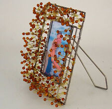 """METAL & BEAD PICTURE FRAME 4 X 6"""" PIC PROTRUDING AMBER COLOR BEADS & MICA WAFERS"""