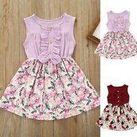 Summer Toddler Baby Girls Kids Sleeveless Linen Bow Floral Dress Sunsuit Clothes