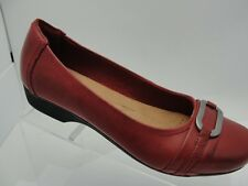 Clarks Collection Women's Shoes Red Leather Slip On Horsebit Loafers Flats 6M