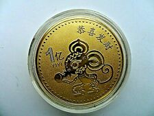Chinese Zodiac Year of The Rat 2020  Gold  Plated  Commemorative Coin