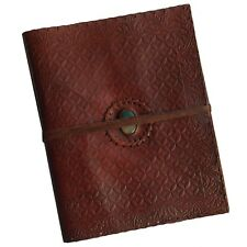 """Handmade 13"""" Embossed Real Leather Photo Album Scrapbook Two-Tone Blue Stone"""