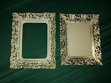 2 Vintage 5� X 7� Gold Tone Scroll Filigree Metal Picture Photo Frame Pair