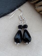 Victorian Vintage Style Black/Silver Teardrop Bead Drop Earrings Gothic/Retro UK