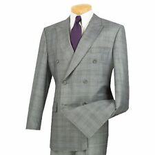 VINCI Men's Gray Glen Plaid Double Breasted 6 Button Classic Fit Suit NEW
