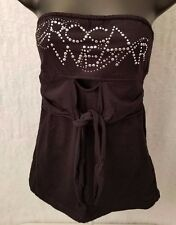 Rocawear Womens Black Silver Design Logo Halter Top Shirt Blouse Size M