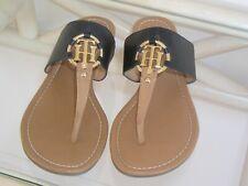 Tommy Hilfiger 'Sia' Womens Sandals Black & Tan w/ Gold Logo size 10 M