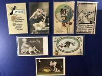 7 DOG Antique Greetings Postcards. For Collectors. Nice w Value