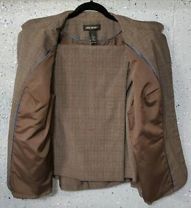 Lane Bryant Womens Brown Plaid Poly/Rayon Spandex Lined Jacket 2pc Pant Suit 20