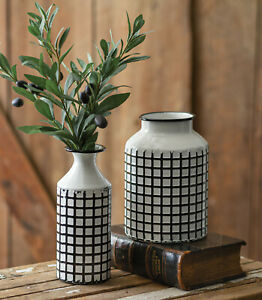 Rustic Metal Black White Vases 2pc Set Flower Pot Flower Vase RUSTIC INDUSTRIAL