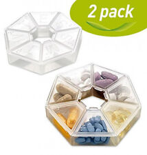 MEDca Weekly Pill Case Box Organizer Clear 7-Sided Reminder Round Shaped 2 Pack