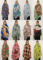 Cotton Muslim Women Printed Long Scarf Headwrap Hijab Arab Shawls Shayla Scarf
