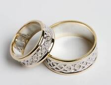 Set 14k Gold and Sterling Silver Celtic Wedding Rings all sizes