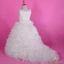Satin Organza Tiered Gown Formal Dress w/ Train Wedding Flower Girl Size 4 FG238