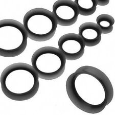 "1 Pair Black Thin Silicone Ear Skin Tunnels Plugs 14mm 9/16"" Piercings Gauges"