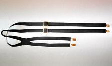 Hosenträger Lederhosenträger schwarz/gold suspendier braves leather black