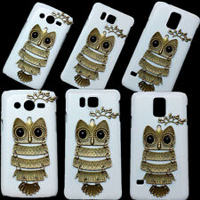 3D Cute Unique Fashion Retro Branch Leaves Owl Hard Back Case Cover For Sony LG