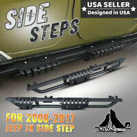 For 08-17 Jeep Wrangler JK 4 Door ABS Steel Side Steps Nerf Bars Running Board