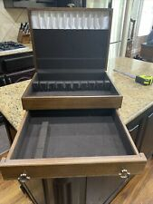 New listing Flatware Vintage Wood Chest Service For 12 Plus Drawer