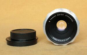 Tessar 50/2.8 Carl Zeiss Jena lens Praktica M42 CLA works silver semi automatic