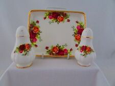 "ROYAL ALBERT ""OLD COUNTRY ROSES "" PATTERN CRUET SET WITH TRAY"
