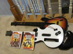 Lot of 2 Wii Guitar Hero Gibson Les Paul Wireless Guitar + SUNBURST NO Cover
