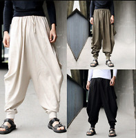 Men's Baggy Hakama Linen Trousers Cargo Pants Fashion Japanese Samurai Trousers