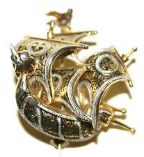 VINTAGE Viking Nave con Croce di Malta su ogni SAIL-SPILLA IN SMALTO dettagliate