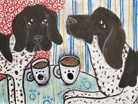Augvergne Pointer Drinking Coffee Original Pastel Painting 9x12 Dog Art by KSams