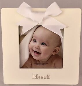 Hello World Cream Picture Frame White Bow CR Gibson Stepping Stones Baby's (NEW)
