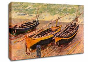 Monet Dock Of Etretat (Three Fishing Boats) Art Classic 02011 Canvas Wall Art