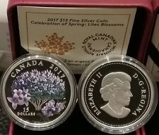 2017 Lilac Blossoms 3/4OZ Pure Silver Proof $15 Coin Canada: Celebration Spring