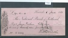 CHEQUE - CH1435 -  USED -1881 - NATIONAL BANK OF SCOTLAND, HAWICK
