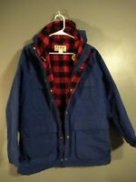 Vintage LL Bean Baxter State Parka Womens Sz M Red Plaid Wool Lined Coat