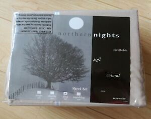 BRAND NEW NORTHERN NIGHTS FLANNEL FITTED SHEET & 2 PILLOWCASES - NATURAL - KING