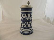 Gallo Royal Crowm Delft Bierkrug grau blau Zink Humpen Trinkgefäß Deko alt 9850