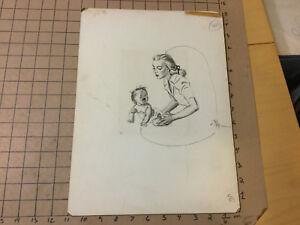 orig Advertising Art for Johnson & Johnson: 1947 BABY & MOM --by MEG WOHLBERG