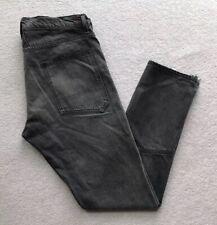 Rhude Mens Dirt Road Straight Leg Frayed Hem Jeans Grey W36 L34