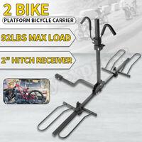 "AU 2""Hitch 2 Bike Bicycle Platform Car Rear Carrier Rack Hitch Mount Long Travel"