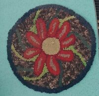 """Antique 1800s Old Hand Hooked Small Round Rug for Footstool Etc 14"""" Flower"""