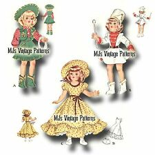 "Vtg Pattern ~ for 14"" 15"" Toni, Revlon Doll Clothes Cowgirl, Majorette, Belle"