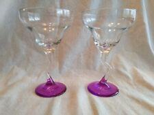 Vintage Set of 2 Margarita Glasses Zig Zag stem Hot Pink Foot Large Bowls